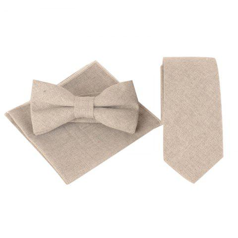 Outfit Solid Color Pattern Necktie Bow Tie and Handkerchief
