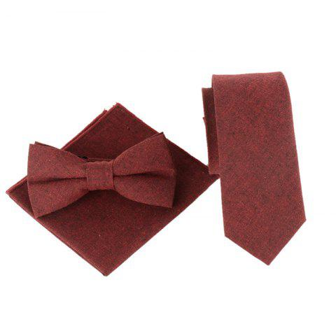 New Solid Color Pattern Necktie Bow Tie and Handkerchief