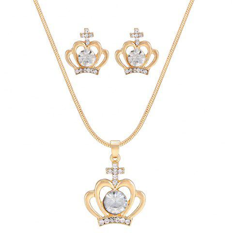 Buy Simple Rhinestone Crucifix Crown Necklace and Earring Set