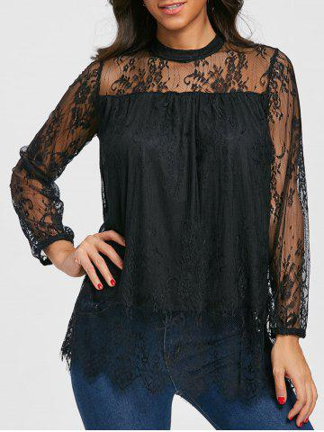 Outfit Mock Neck Sheer Lace Blouse