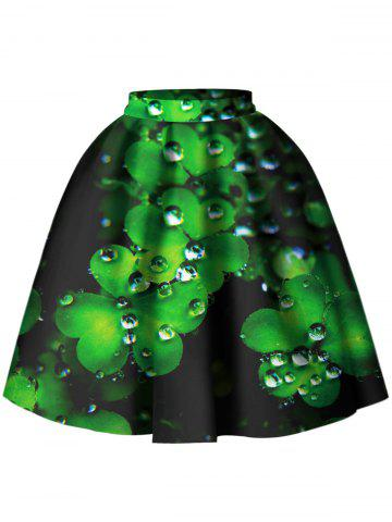Leaf Pattern A Line Skirt