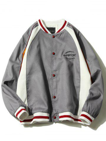 Raglan Sleeve Embroidered Baseball Jacket - GRAY - 4XL