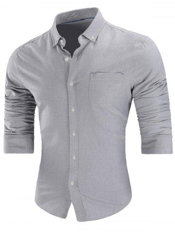 Trendy Chest Pocket Button Down Shirt