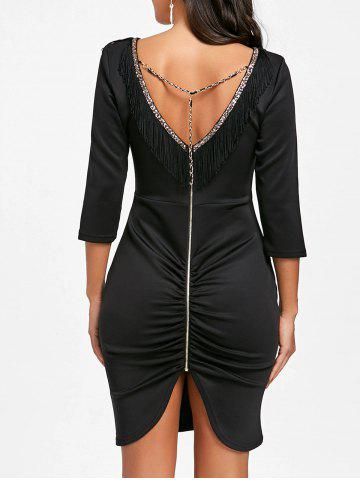 V Шея Fringe Chain Bodycon Платье