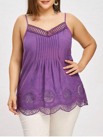Cheap Plus Size Embroidery Scalloped Edge Tank Top