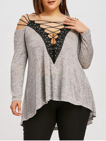 Fancy Plus Size Strappy High Low T-shirt