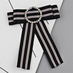 Faux Crystal Striped Bowknot Shirt Tie Brooch -