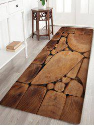 Irregular Wood Blocks Print Flannel Nonslip Bath Rug -