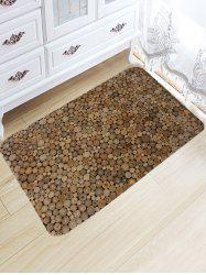 Wood Print Flannel Water Absorption Area Rug -