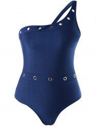 Plus Size Eyelets Embellished One Piece Swimwear -
