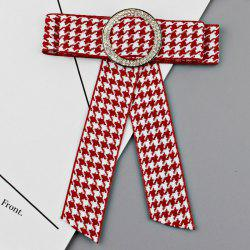 Houndstooth Bowknot Faux Crystal Necktie Brooch -