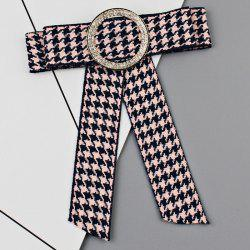 Houndstooth Bowknot Faux Crystal Neckktie Brooch -