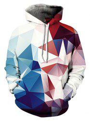 3D Geometric Print Hoodie with Pocket -