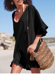 See Through Ruffle Trim Beach Cover Up -