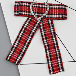 Сердце Faux Crystal Plaid Bowknot Shirt Tie Brooch -