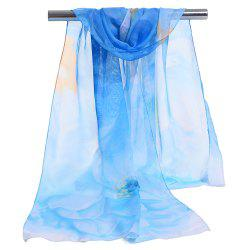 Floral Pattern Embellished Lightweight Chiffon Scarf -