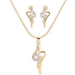Simple Rhinestone Necklace with Earring Set -