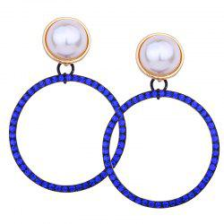 Sparkly Rhinestone Faux Pearl Circle Drop Earrings -