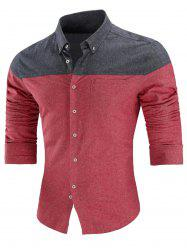 Long Sleeve Two Tone Button Down Shirt -