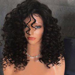 Long Side Bang Fluffy Kinky Curly Synthetic Wig -