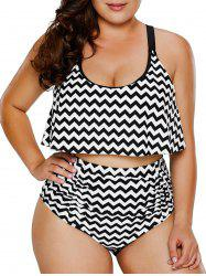 Overlay Zigzag Plus Size Pin Up Bikini -