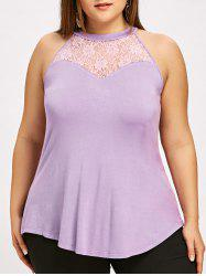 Plus Size Lace Panel Crew Neck Tank Top -