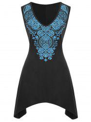 Plus Size Ethnic Asymmetrical Tank Top -