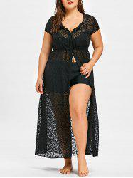 Plus Size See Thru Maxi Flowy Cover Up -
