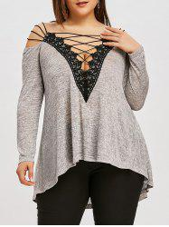 Plus Size Strappy High Low T-shirt -
