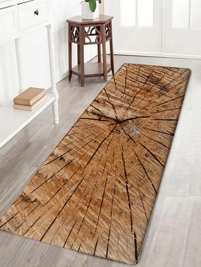 Store Crack of Wood Print Flannel Nonslip Area Rug