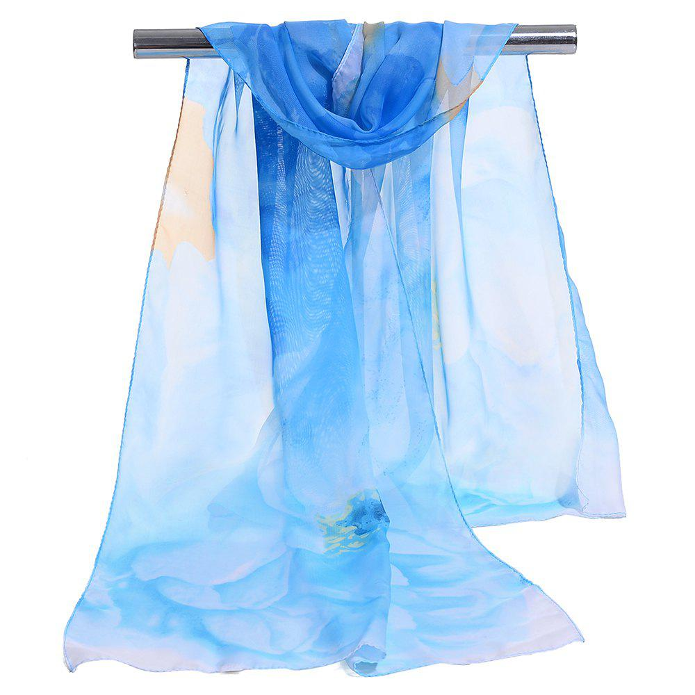 Online Floral Pattern Embellished Lightweight Chiffon Scarf
