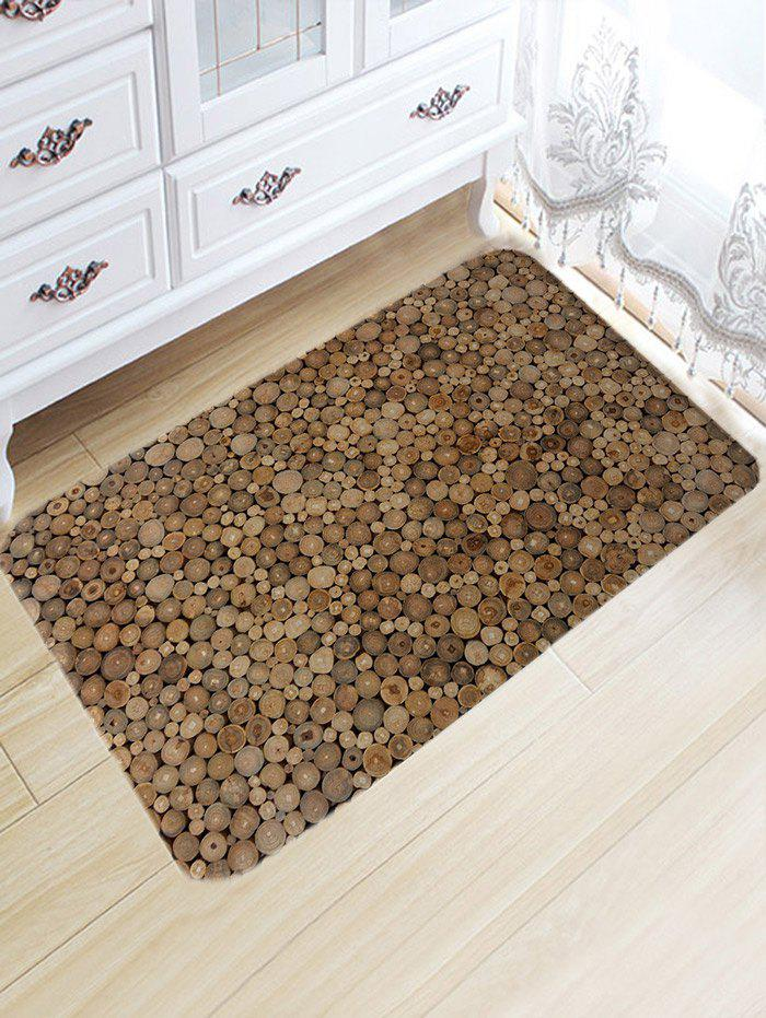 Discount Wood Print Flannel Water Absorption Area Rug