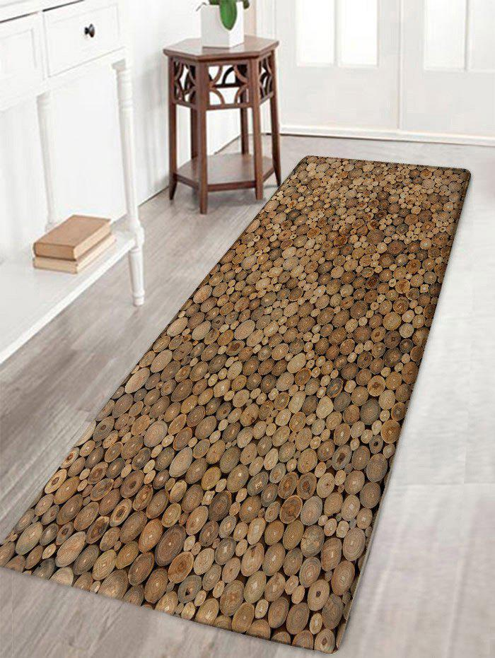 Unique Wood Print Flannel Water Absorption Area Rug