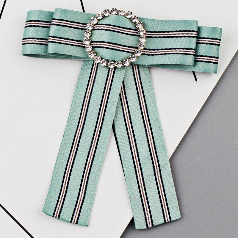 Hot Faux Crystal Striped Bowknot Shirt Tie Brooch