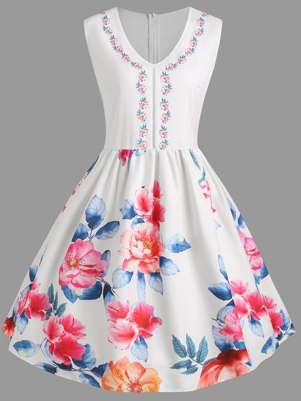 Sale Plus Size Flower Print Sleeveless Dress