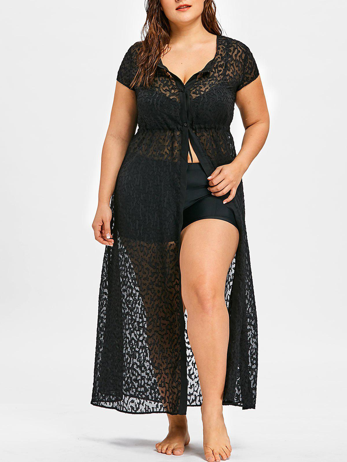 Store Plus Size See Thru Maxi Flowy Cover Up