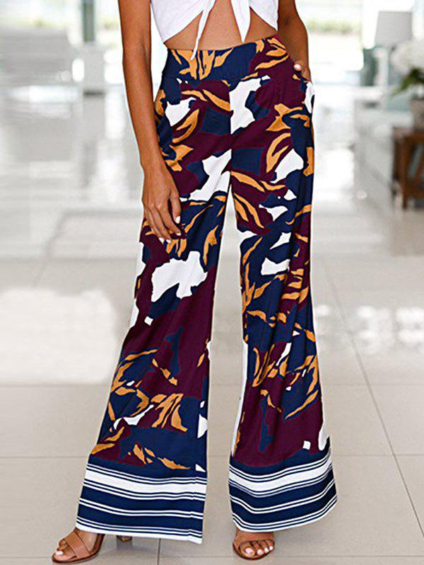 Fancy High Waist Camouflage Print Wide Leg Pants