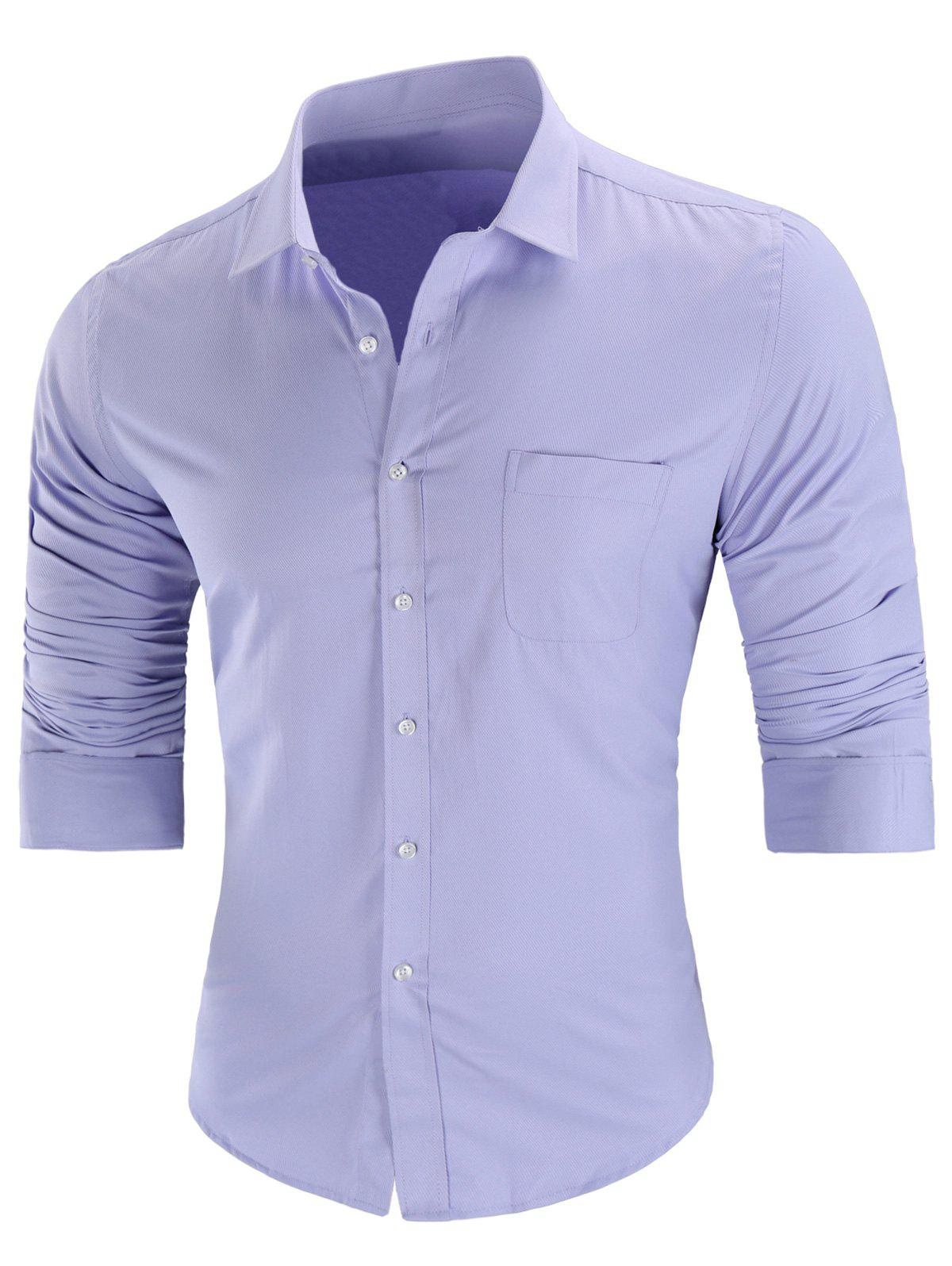 Trendy Chest Pocket Casual Long Sleeve Shirt