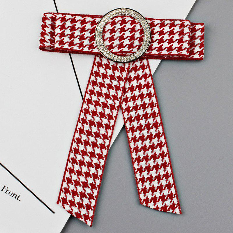 Chic Houndstooth Bowknot Faux Crystal Necktie Brooch