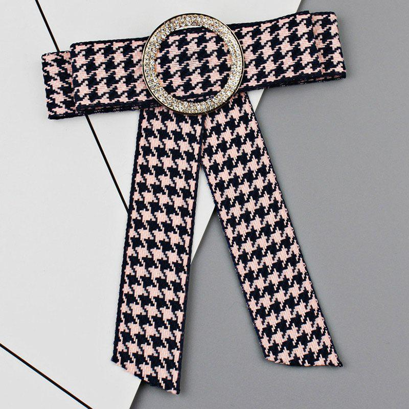 Affordable Houndstooth Bowknot Faux Crystal Necktie Brooch