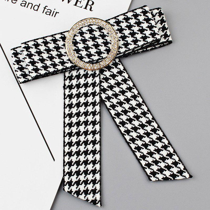 Latest Houndstooth Bowknot Faux Crystal Necktie Brooch