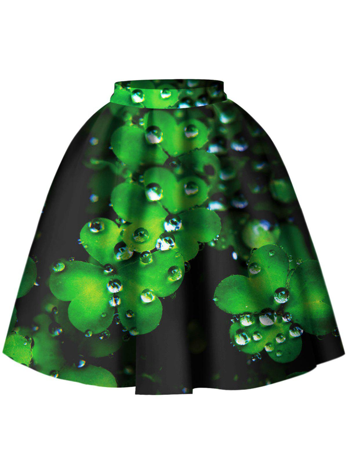 Chic Leaf Pattern A Line Skirt