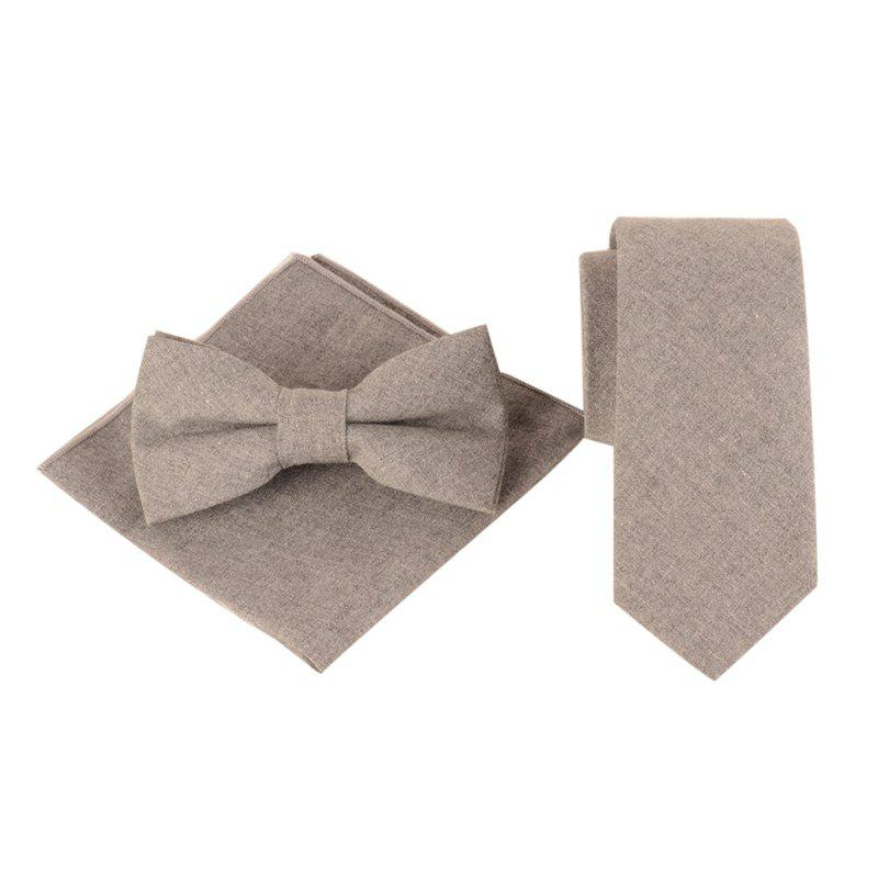 Cheap Solid Color Pattern Necktie Bow Tie and Handkerchief