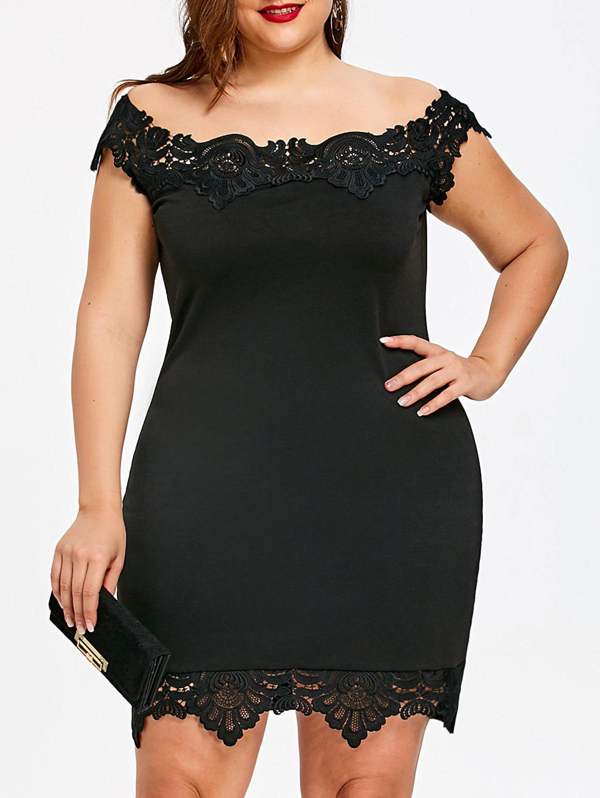 Shops Lace Trim Off Shoulder Plus Size Bodycon Dress