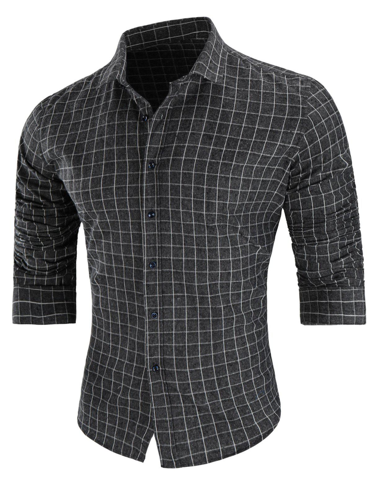 Online Casual Long-sleeved Grid Shirt