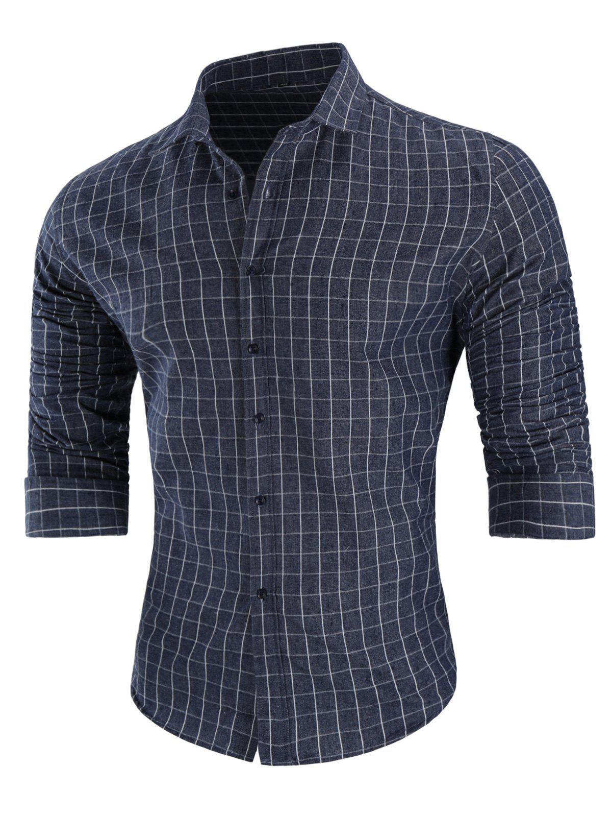 Discount Casual Long-sleeved Grid Shirt