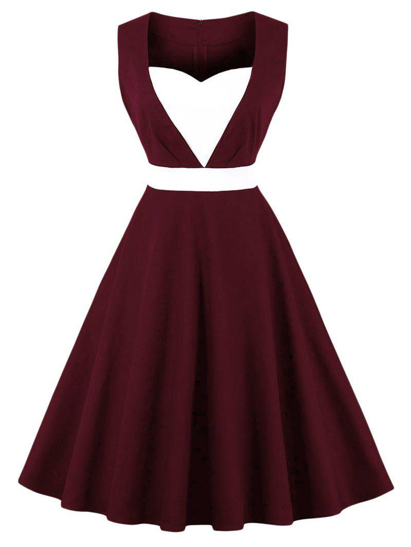 New Vintage Color Block Pin Up Dress