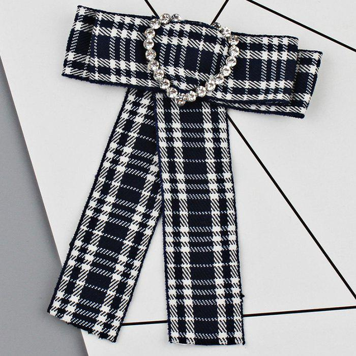 Discount Heart Faux Crystal Plaid Bowknot Shirt Tie Brooch