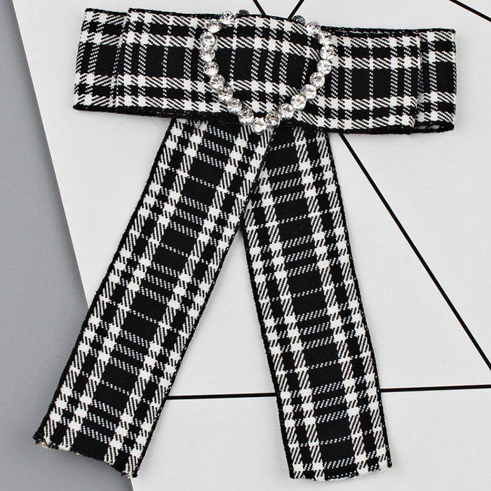 Buy Heart Faux Crystal Plaid Bowknot Shirt Tie Brooch