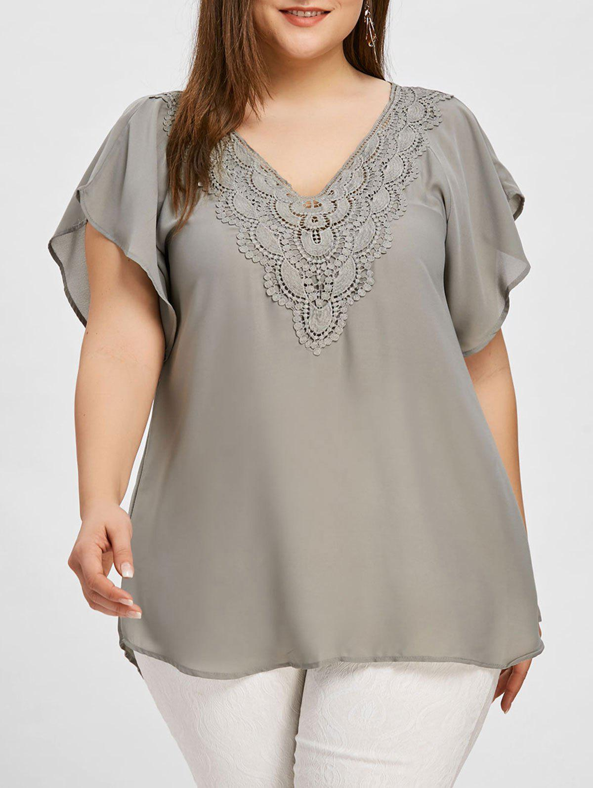 Affordable Plus Size Crochet High Low Blouse